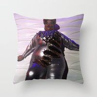 minaj Throw Pillows featuring Oooo Drag on by Emily Lomax