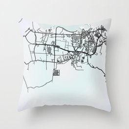 Malabo, Equatorial Guinea, White, City, Map Throw Pillow