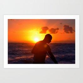 Man at work in the morning.Punta Cana,Bavaro Art Print