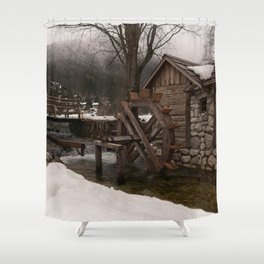 Winter Water Mill At Lake Jasna Shower Curtain