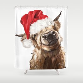 Christmas Highland Cow Shower Curtain
