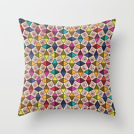 Colorful Kaleidoscopic Abstract Flower Pattern Throw Pillow