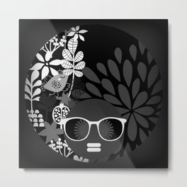 Afro Diva : Sophisticated Lady Black & White Metal Print