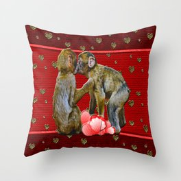 Kissing Chimpanzees Floating Hearts Throw Pillow