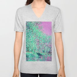 Monet: Bend in the River Epte Orchid Pink Mint Unisex V-Neck