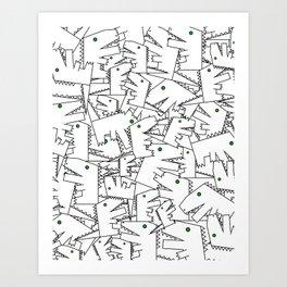 Line art - Crocodile Art Print