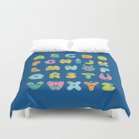 alphabet Duvet Covers featuring alphabet by lalehan canuyar