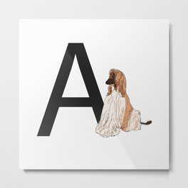 A is for Afghan Hound Dog Metal Print