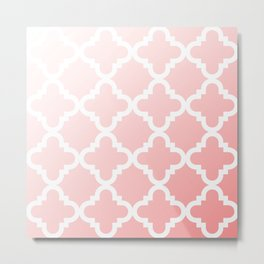 Faded Pink Quatrefoil Metal Print