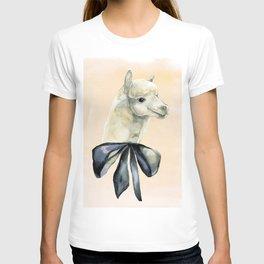 alpaca with black tie T-shirt
