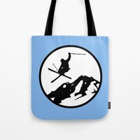 skiing Tote Bags featuring Skiing by Paul Simms
