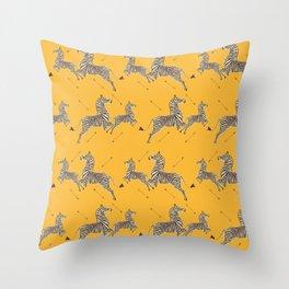 Royal Tenenbaums Zebra Wallpaper - Mustard Yellow Throw Pillow