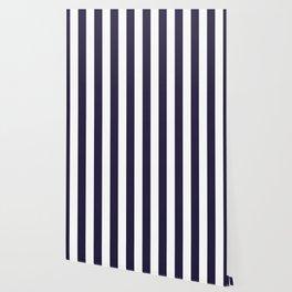 Dark eclipse Blue and White Wide Vertical Cabana Tent Stripe Wallpaper