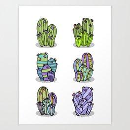 6 Striped Flowering Cacti Art Print
