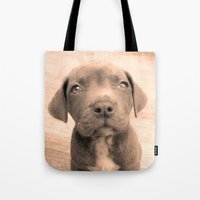 pitbull Tote Bags featuring Pitbull puppy by ritmo boxer designs