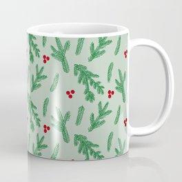 Christmas Fir Tree and Mistletoe Fruits Pattern Coffee Mug