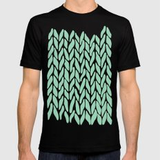 Hand Knitted Mint Black Mens Fitted Tee X-LARGE