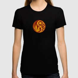 Yellow and Red Dragon Phoenix Yin Yang T-shirt