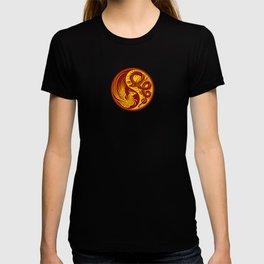Yellow and Red Dragon Phoenix Yin Yang T-shirt