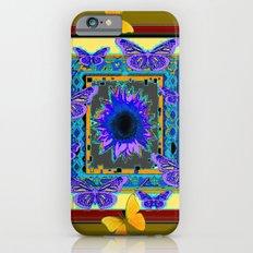 KHAKI PURPLE & YELLOW BUTTERFLIES SUNFLOWER Slim Case iPhone 6s