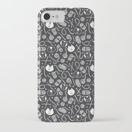 Cats LOVE Yarn! in Grey iPhone Case