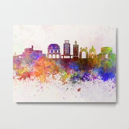 Brescia skyline in watercolor background Metal Print
