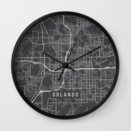 Orlando Map, USA - Gray Wall Clock
