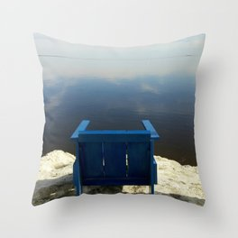 The Blue Chair at the Sea Throw Pillow
