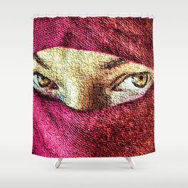 Little Wanderer in hijab painting portrait - Jeanpaul Ferro Shower Curtain