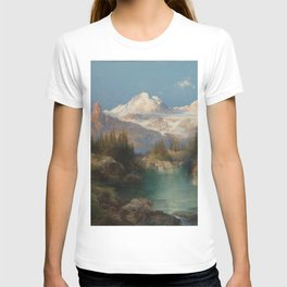 Snow-capped Rocky Mountains landscape painting by Thomas Moran T-shirt