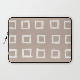 Square Stroke Dots White on Nude Laptop Sleeve