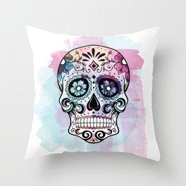Watercolor Sugar Skull Throw Pillow