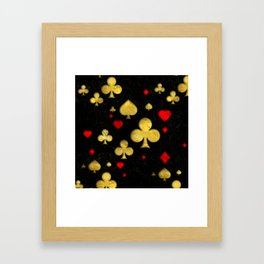 Abstract Gold and Red Suits Pattern Digital Art Framed Art Print
