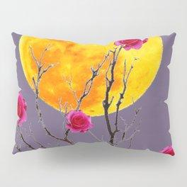 SURREAL FULL MOON & PINK WINTER ROSES Pillow Sham