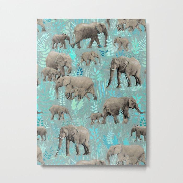Sweet Elephants in Soft Teal Metal Print
