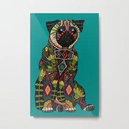 pug love teal Metal Print