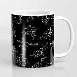 Molecules on Black Coffee Mug