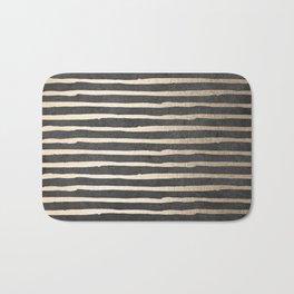 White Gold Sands Thin Stripes on Black Bath Mat