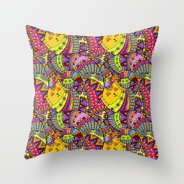 Vintage Stylized Cat Pattern Throw Pillow