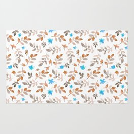 Country watercolor teal brown fall rustic floral Rug