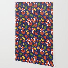 Fox Jumble - Blue Wallpaper