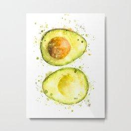 Avocado Watercolour Metal Print