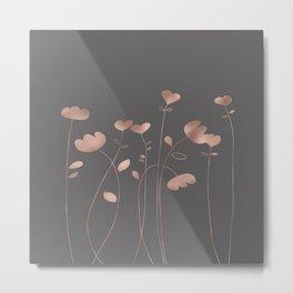 Rosegold pink flowers- floral design- Flower Metal Print