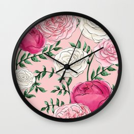 Rose Florals and Stems in Blush Wall Clock