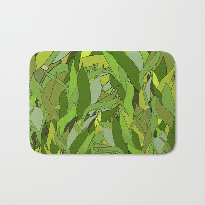 Green Bamboo Leaves Bath Mat