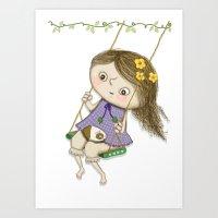 Little girl and guinea pig Art Print