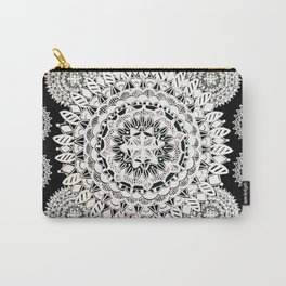 Two White-Silver Mandalas Patterned Textile Carry-All Pouch