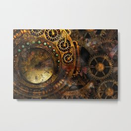 Steampunk Clock and Gears Metal Print