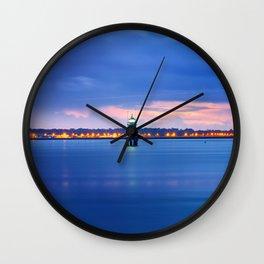 Blue hour. Dublin port Wall Clock