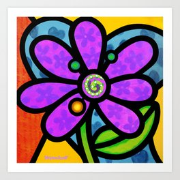 Pinwheel Daisy in Purple Art Print